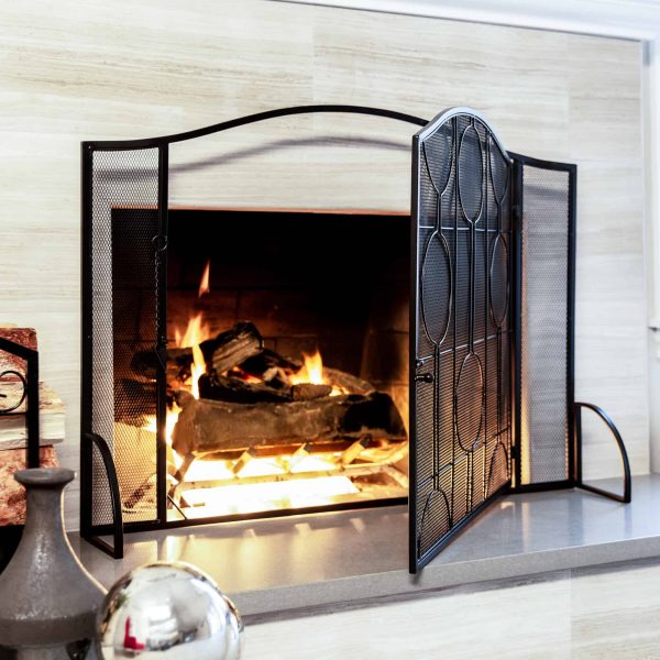 Best Choice Products Single Panel 40x29in Heavy-Duty Steel Mesh Fireplace Screen, Living Room Decor w/ Locking Door 1
