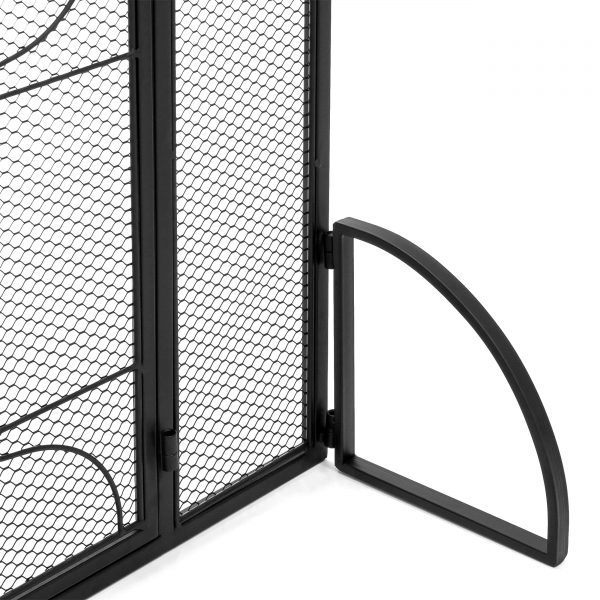 Best Choice Products Single Panel 40x29in Heavy-Duty Steel Mesh Fireplace Screen, Living Room Decor w/ Locking Door 2