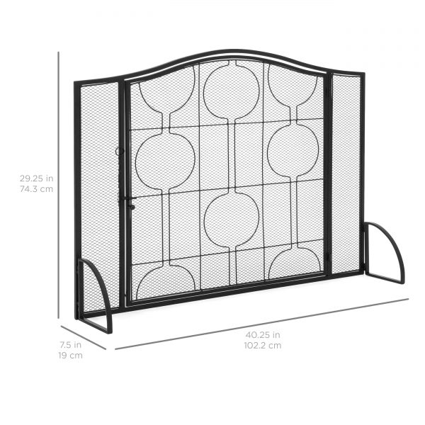 Best Choice Products Single Panel 40x29in Heavy-Duty Steel Mesh Fireplace Screen, Living Room Decor w/ Locking Door 4