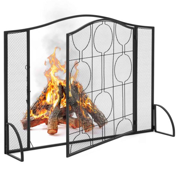 Best Choice Products Single Panel 40x29in Heavy-Duty Steel Mesh Fireplace Screen