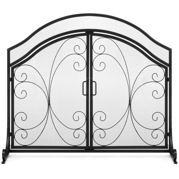 Best Choice Products Single Panel 43x37in Wrought Iron Mesh Fireplace Screen Spark Guard Gate w/ Magnetic Doors 3