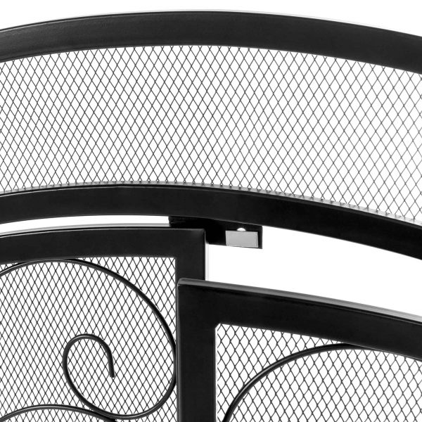 Best Choice Products Single Panel 43x37in Wrought Iron Mesh Fireplace Screen Spark Guard Gate w/ Magnetic Doors 4