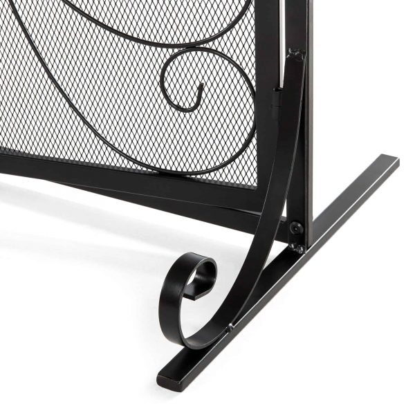 Best Choice Products Single Panel 43x37in Wrought Iron Mesh Fireplace Screen Spark Guard Gate w/ Magnetic Doors 5