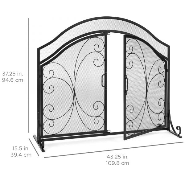 Best Choice Products Single Panel 43x37in Wrought Iron Mesh Fireplace Screen Spark Guard Gate w/ Magnetic Doors 6
