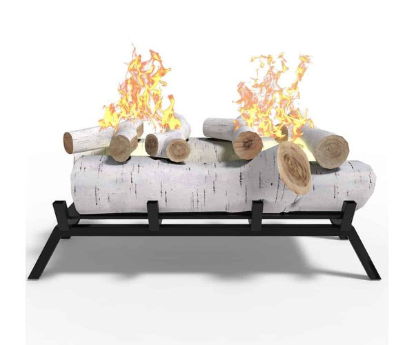 "Birch 18"" Convert to Ethanol Fireplace Log Set Grate 1"