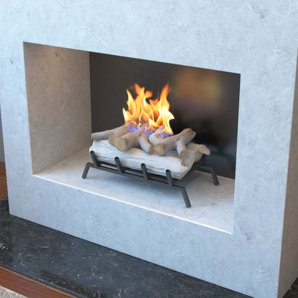 "Birch 18"" Convert to Ethanol Fireplace Log Set Grate 2"