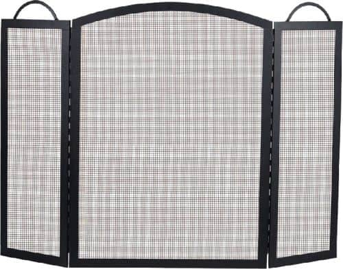 Black 3 Fold Center Wrought Iron Arched Panel Screen - 39 inch