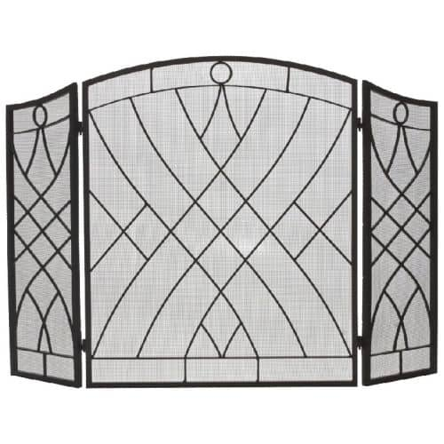 Black 3 Fold Weave Design Wrought Iron Arched Panel Screen - 34 inch