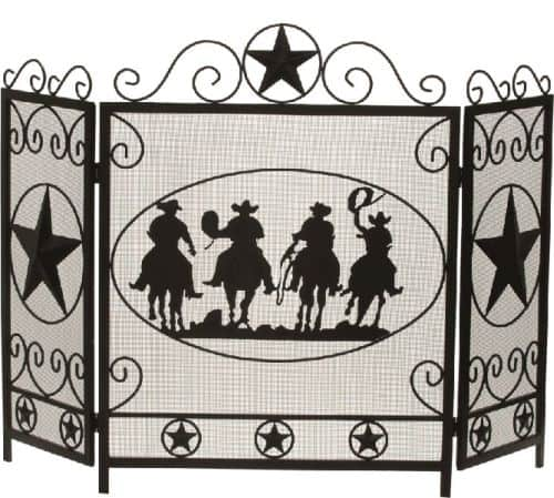 Black 3 Fold Wrought Iron Panel Screen with Cowboy Design - 34.75 inch