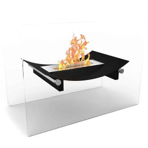 Black Alor Ventless Free Standing Ethanol Fireplace Can Be Used as a Indoor