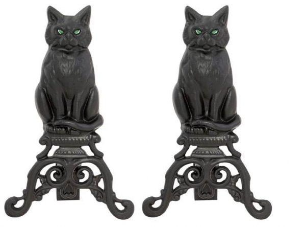 Black Cast Iron Cat Glass Eyes