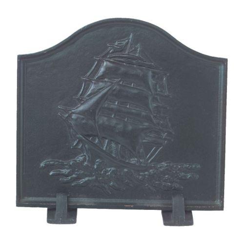 Black Cast Iron Ship Fireback - 16 x 17.5 inch