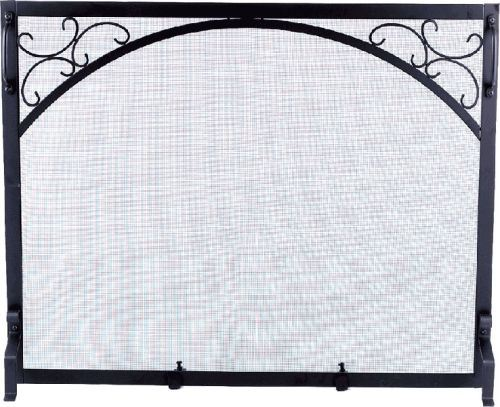 Black Wrought Iron Panel Screen with Scroll Design - 31 inch