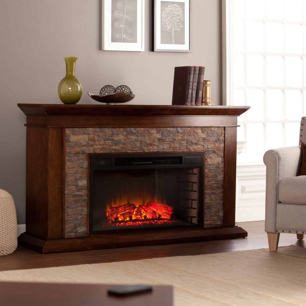 Bodilla Electric Fireplace with Faux Stone