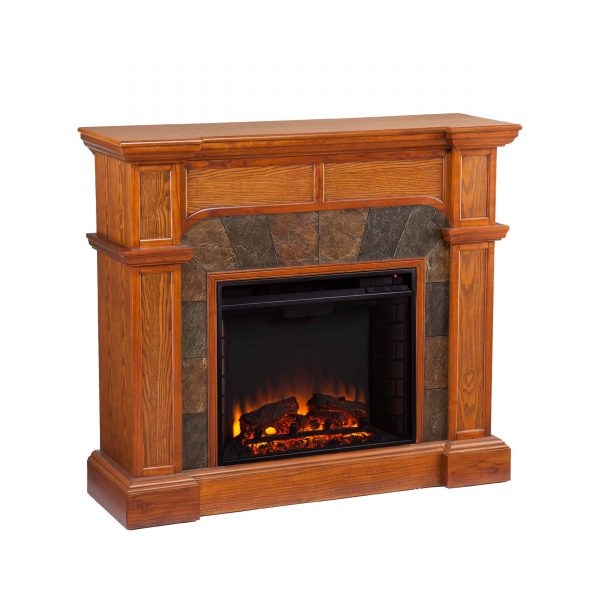 Bofyre Convertible/ Corner Electric Fireplace with Faux Slate, Mission Oak 2