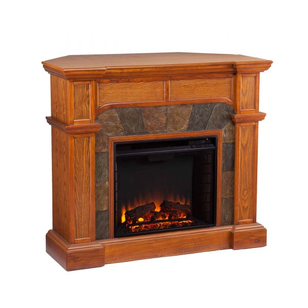 Bofyre Convertible/ Corner Electric Fireplace with Faux Slate, Mission Oak 3