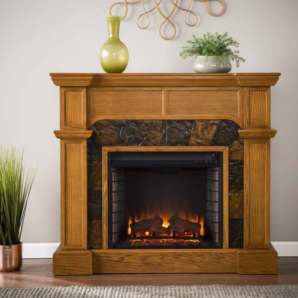 Bofyre Convertible/ Corner Electric Fireplace with Faux Slate