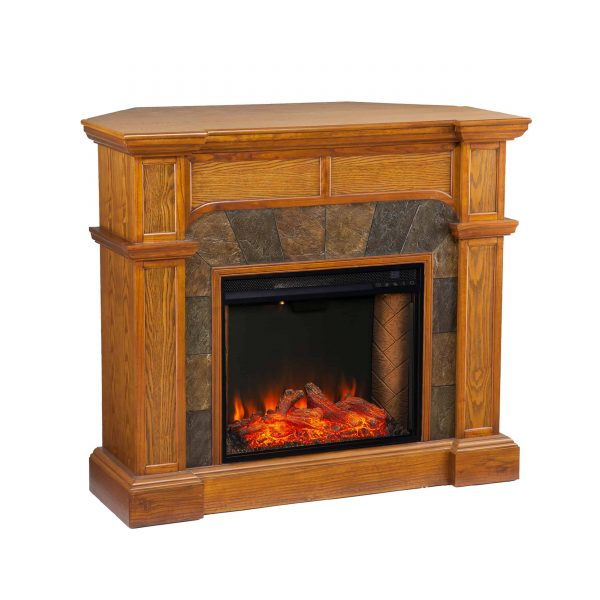Bofyre Corner Convertible Smart Fireplace w/ Faux Stone Surround 1