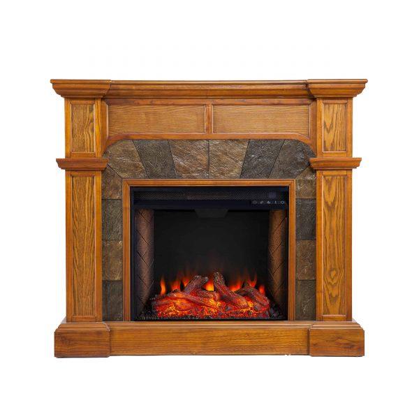 Bofyre Corner Convertible Smart Fireplace w/ Faux Stone Surround 2