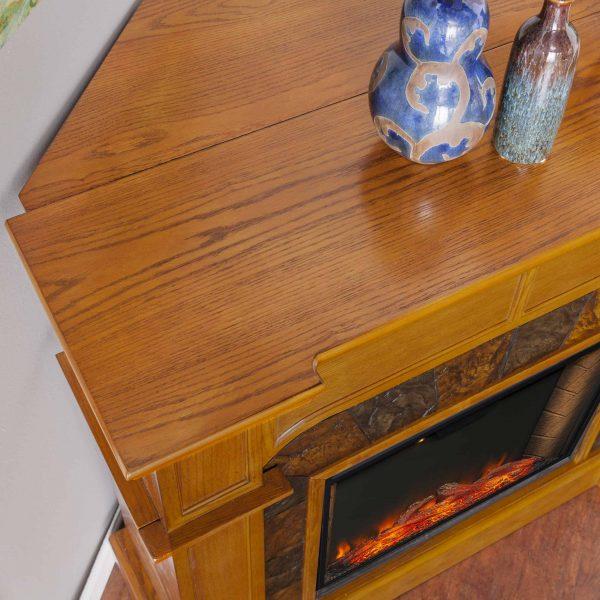 Bofyre Corner Convertible Smart Fireplace w/ Faux Stone Surround 4