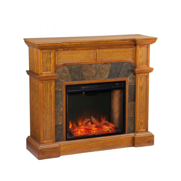 Bofyre Corner Convertible Smart Fireplace w/ Faux Stone Surround 6