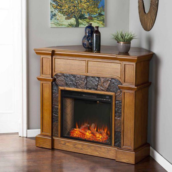Bofyre Corner Convertible Smart Fireplace w/ Faux Stone Surround