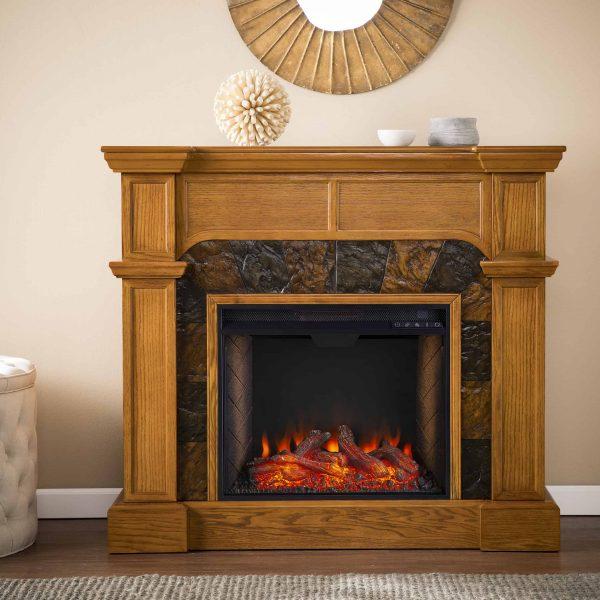 Bofyre Corner Convertible Smart Fireplace w/ Faux Stone Surround 7