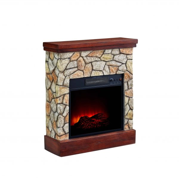 Bold Flame 26 inch Faux Stone Electric Fireplace in Tan/Grey 2