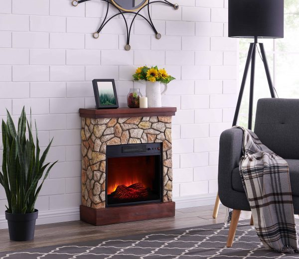 Bold Flame 26 inch Faux Stone Electric Fireplace in Tan/Grey