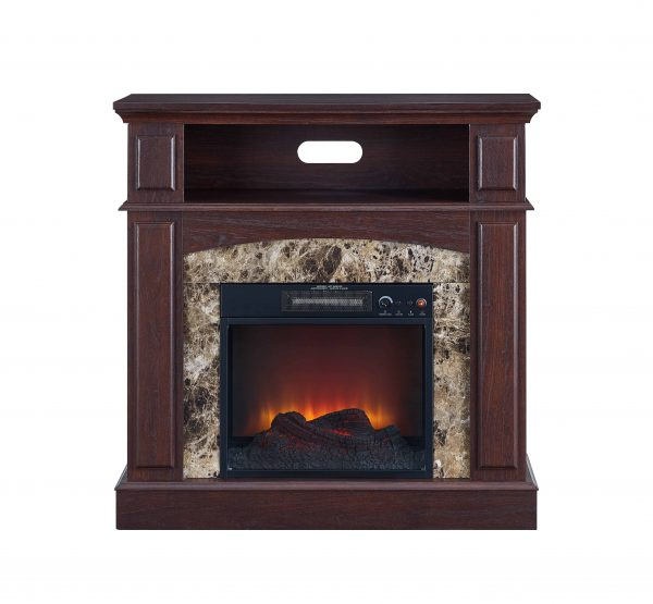 Bold Flame 36 inch Faux Marble Electric Fireplace in Walnut 3