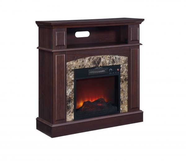 Bold Flame 36 inch Faux Marble Electric Fireplace in Walnut 4