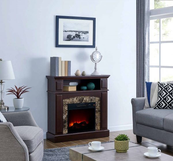 Bold Flame 36 inch Faux Marble Electric Fireplace in Walnut