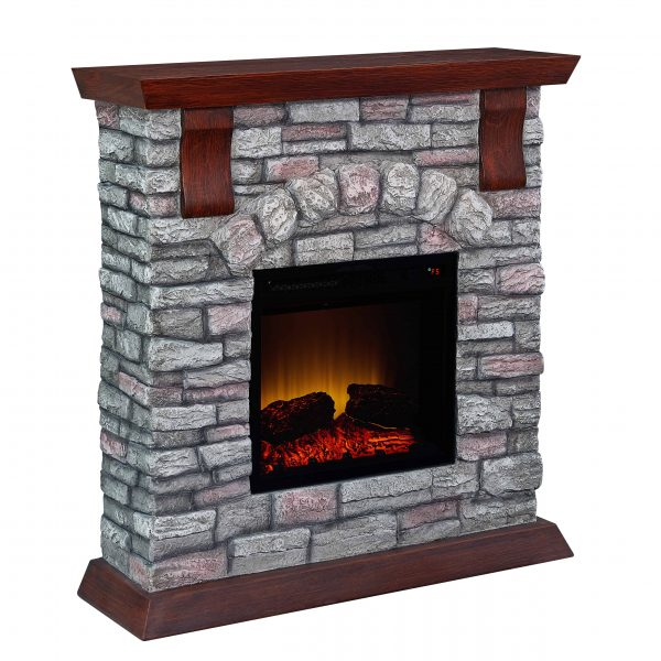 Bold Flame 38 inch Faux Stone Electric Fireplace in Brown/Tan 1