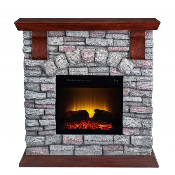 Bold Flame 38 inch Faux Stone Electric Fireplace in Brown/Tan 2