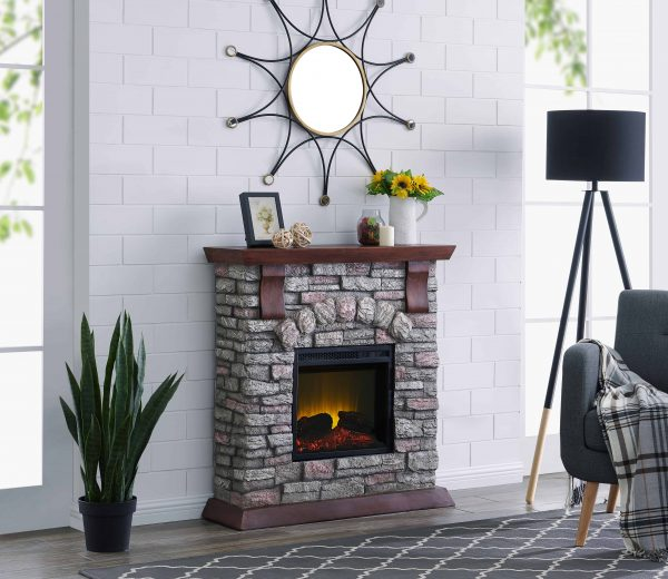 Bold Flame 38 inch Faux Stone Electric Fireplace in Brown/Tan