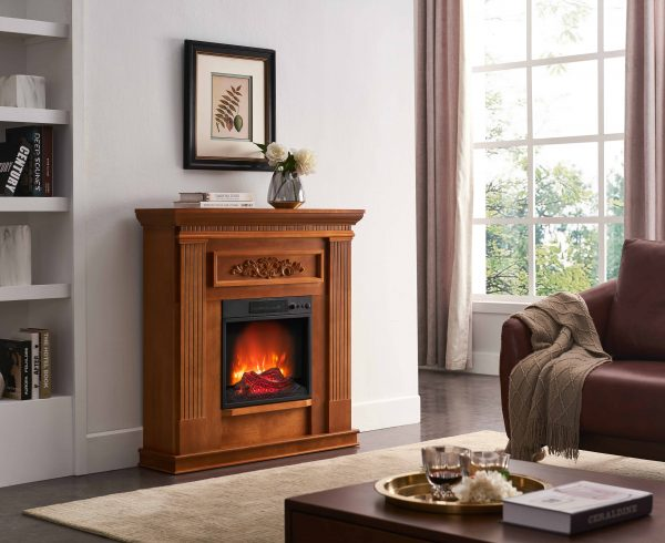 Bold Flame 38 inch Wall Electric Fireplace in Oak 3