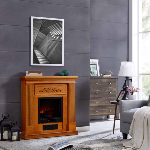 Bold Flame 38 inch Wall Electric Fireplace in Oak