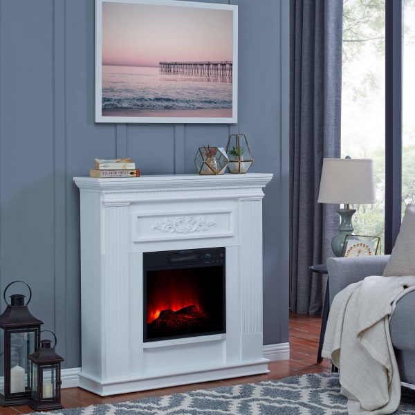 Bold Flame 38 inch Wall/Corner Electric Fireplace in White 6