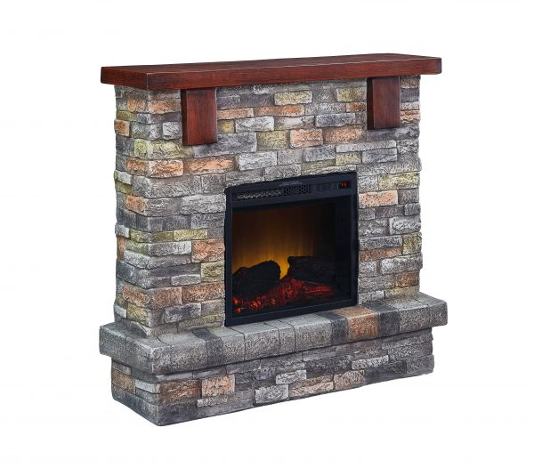 Bold Flame 40 inch Faux Stone Electric Fireplace in Brown 1