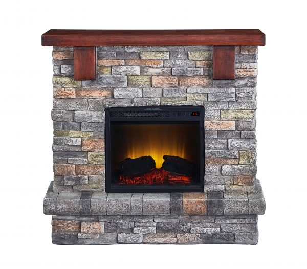 Bold Flame 40 inch Faux Stone Electric Fireplace in Brown 2