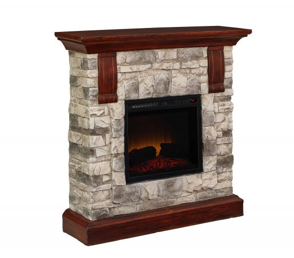 Bold Flame 40 inch Faux Stone Electric Fireplace in Tan/Grey 2