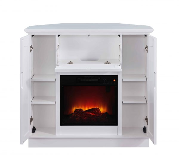 Bold Flame 40 inch Wall/Corner Electric Fireplace in White 3