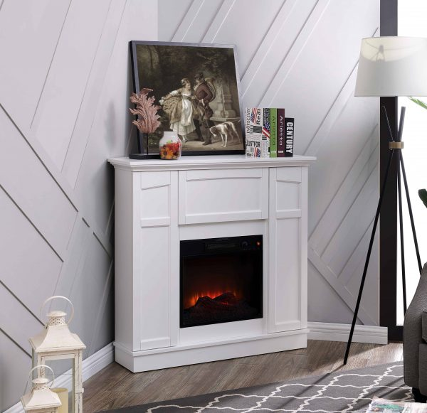 Bold Flame 40 inch Wall/Corner Electric Fireplace in White
