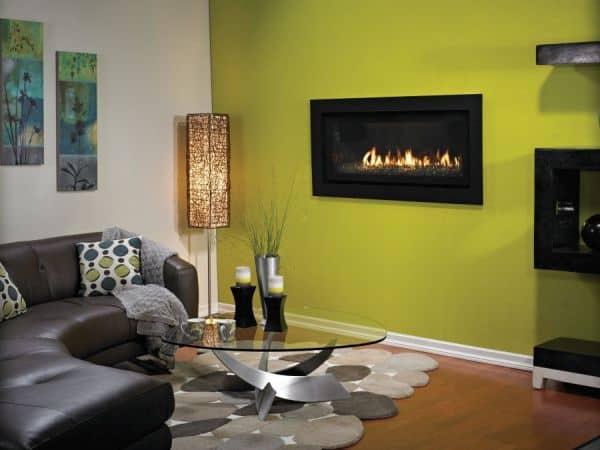 "Boulevard DV Linear 60"" Fireplace w/ Black Porcelain Liner"