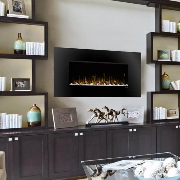 "Bowery Hill 52"" Wall Mount Electric Fireplace in Black 1"
