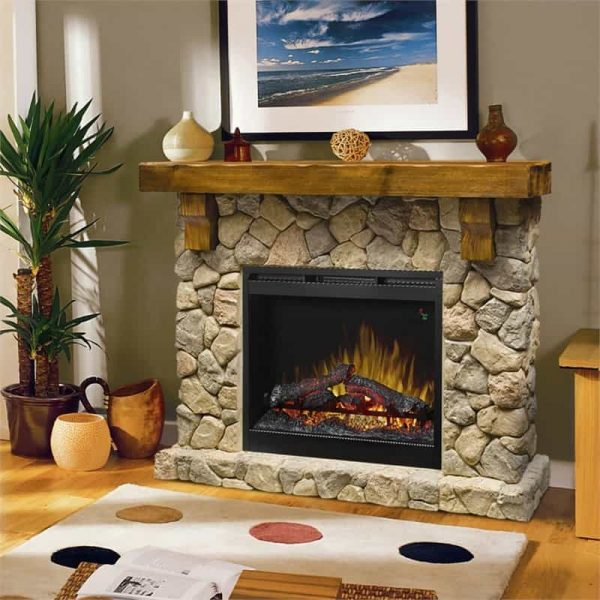 "Bowery Hill 54"" Electric Fireplace Mantel in Faux Stone 1"
