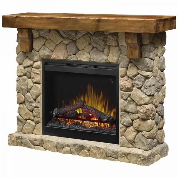 "Bowery Hill 54"" Electric Fireplace Mantel in Faux Stone"