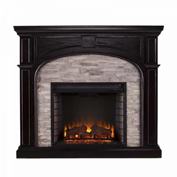 Bowery Hill Electric Fireplace in Ebony and Gray 2