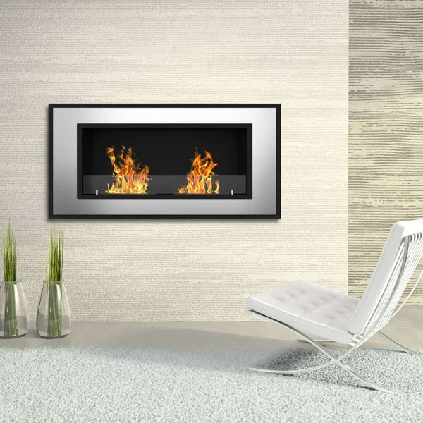 Brooks 47 Inch Ventless Built In Recessed Bio Ethanol Wall Mounted Fireplace 2