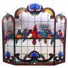 "CHLOE Lighting AVES Tiffany-glass Gathering Birds Design 3pcs Folding Fireplace Screen 40"" Wide 2"